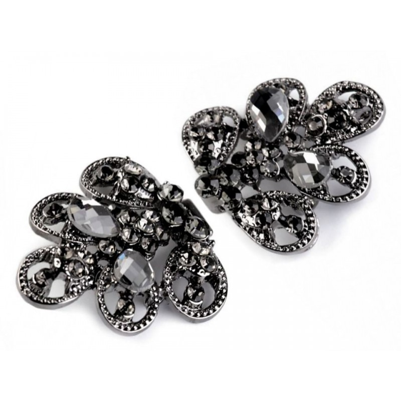 Fermeture agrafe en cristal noir 34x70mm / crochet clip boucle strass, agrafe en métal, fermoir crochet, fermoir à clipser, bout