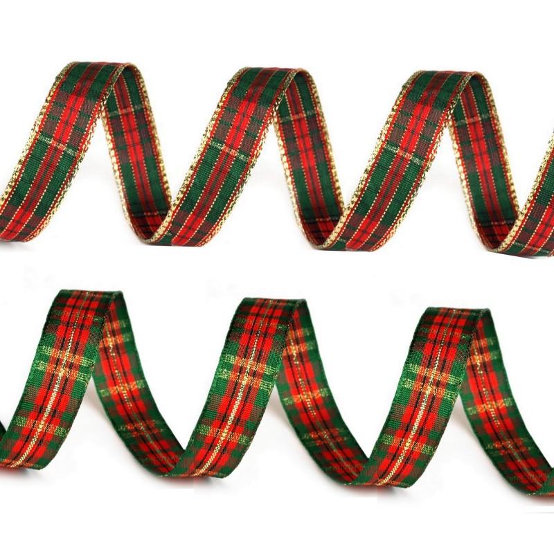 3M Ruban tartan métallisé 15mm / Rouge, vert et or / Ruban de Noël, ruban à carreaux, ruban écossais, décoration Noël