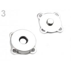 3 Fermoirs magnétiques aimantés à coudre 18mm / or, argent, argent noirci / Boutons pressions aimantés