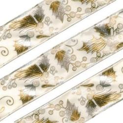 3M Ruban de Noël avec feuilles de houx 38mm  / Naturel, ivoire et doré /ruban décoration Noël