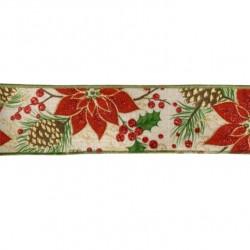 3M Ruban de Noël avec poinsettias en jute 5cm  / Galon de Noël pour paquets cadeau, ruban décoration Noël