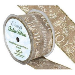 3M Ruban de Noël en jute 5cm / Rouge ou naturel / Galon de Noël pour paquets cadeau, ruban décoration Noël