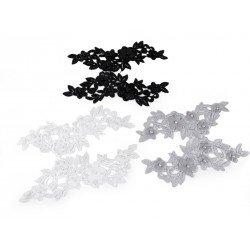 2 applications 3D dentelle symétriques brodé de perles / noir, blanc, gris / Dentelle appliquée, application dentelle, broderie