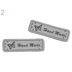 5 labels étiquettes cuir Hand Made