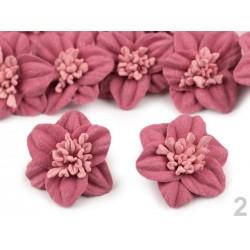 2 fleurs en laine feutrée 3 cm / Nombreux coloris / Fleurs en feutre, décoration bonnet et chapeau, fleur en tissu