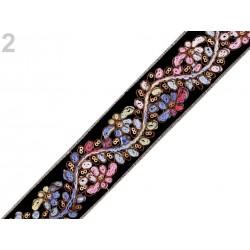 Ruban brodé de sequins 45mm / Galon de sequins, galon dentelle argent, broderie dentelle mariage, ruban dentelle