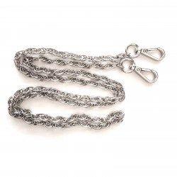 Anse de sac chaîne métal 120cm avec 2 mousquetons argent / Anses de sac métal, chaîne bandoulière sac