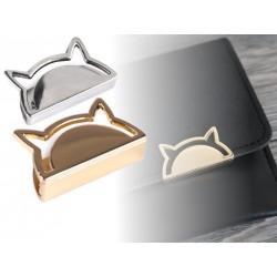 2 décorations Chat pour sac ou porte-monnaie, argent ou or / Création de sac, composant décoratif pour maroquinerie