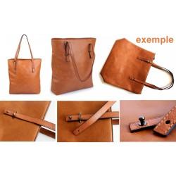 Bandoulière anse de sac en simili cuir 120 cm avec surpiqures / anses de sac en cuir, lanière de sac, sangle cuir