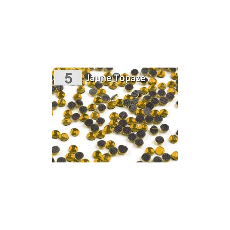 10 g strass hotfix 6 mm thermocollant a facettes jaune topaze