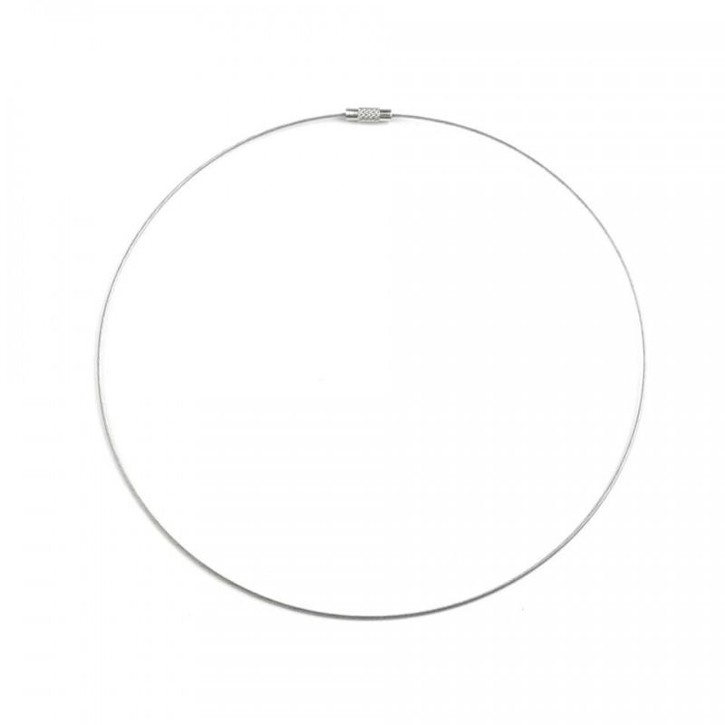 3 Colliers ras de cou cable blanc / fermoir à vis, ras de cou métal, base de collier