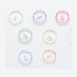 10 boutons ciselés transparents 13mm / Nombreux coloris / Petits boutons transparents, boutons verre synthétique