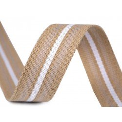 Sangle tressée bicolore double face 38mm / ivoire et marron / Sangles en coton bandoulières anses de sac, ceintures, cabas, besa