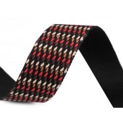 Sangle tressée multicolore 35mm /marron, ivoire, rouge / Sangle de sac, anses de sac, ceintures, bandoulières, sangle pour trans