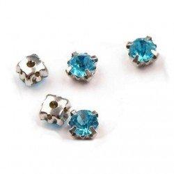 10 strass a coudre 5 mm sur griffe argente bleu turquoise