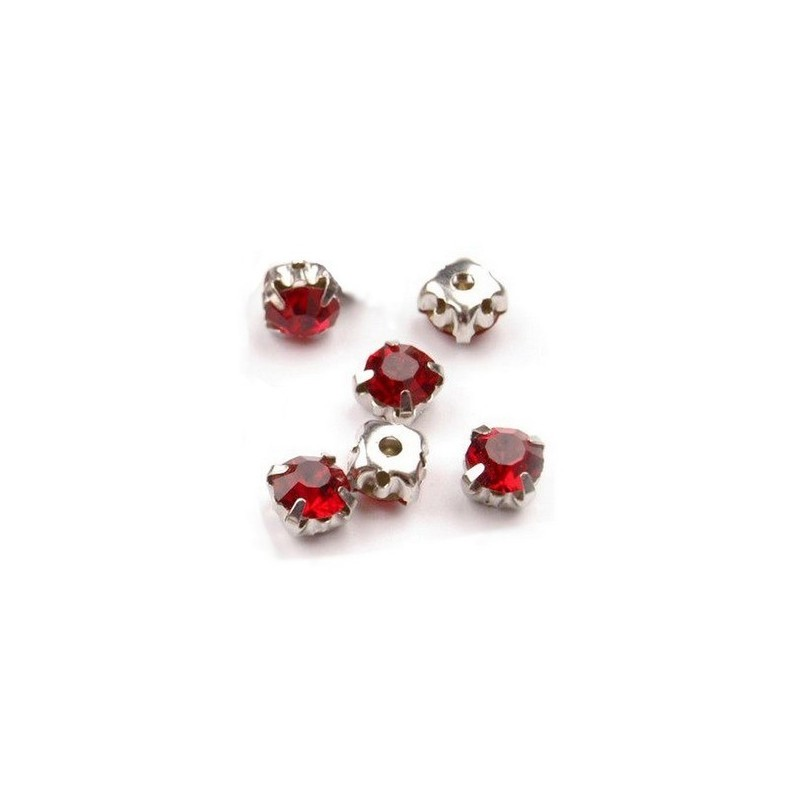 10 strass cristal a coudre 5 mm ROUGE
