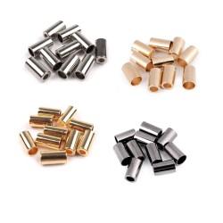 10 embouts de corde métal / 3,5mm et 5,5 mm / noir, or, argent, argent noirci / stop cordon, finition cordelette, embout corde