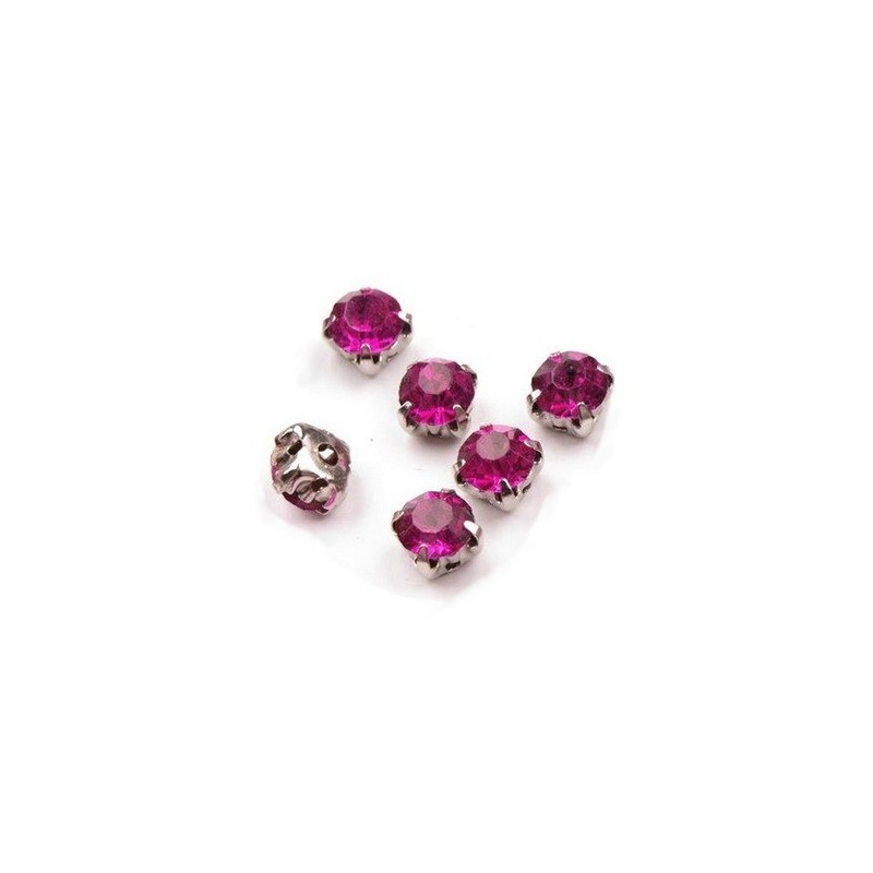 10 strass diamants a coudre 5 mm ROSE FUSHIA