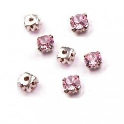 10 strass diamants a coudre 5 mm rose