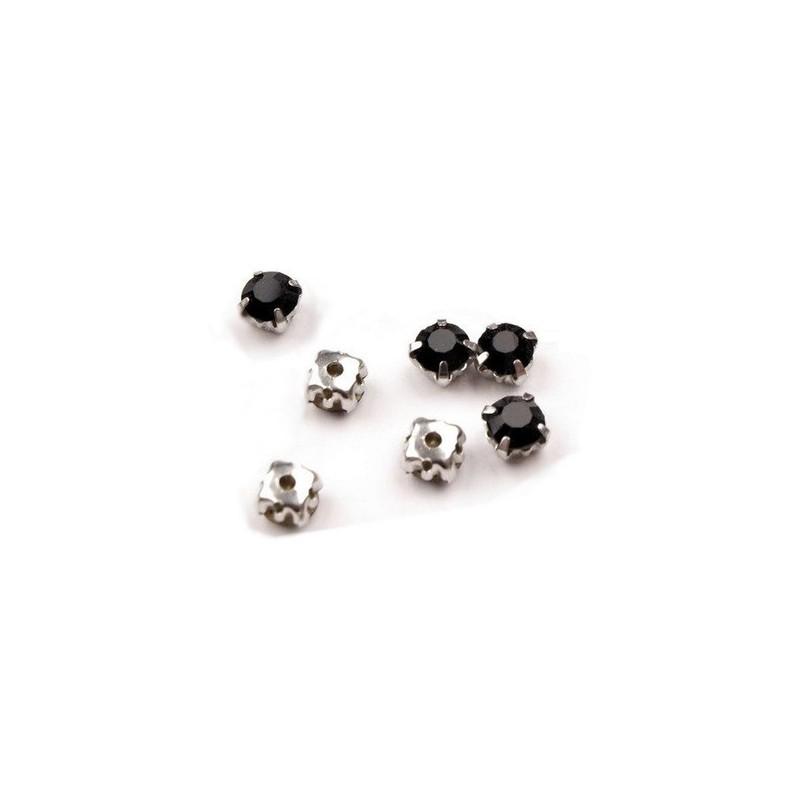 10 strass diamants a coudre 5 mm NOIR