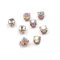 10 strass diamants a coudre 5 mm CRISTAL AB a facettes