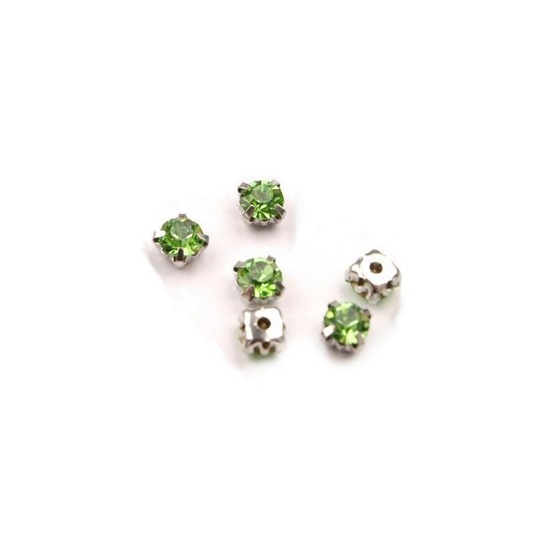 10 strass diamants a coudre 5 mm VERT