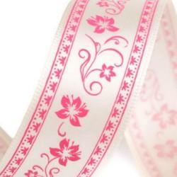 3M Ruban de satin ivoire imprimé guirlande de fleurs roses 25mm / emballage cadeau, décoration fête des mères, anniversaire, Pri