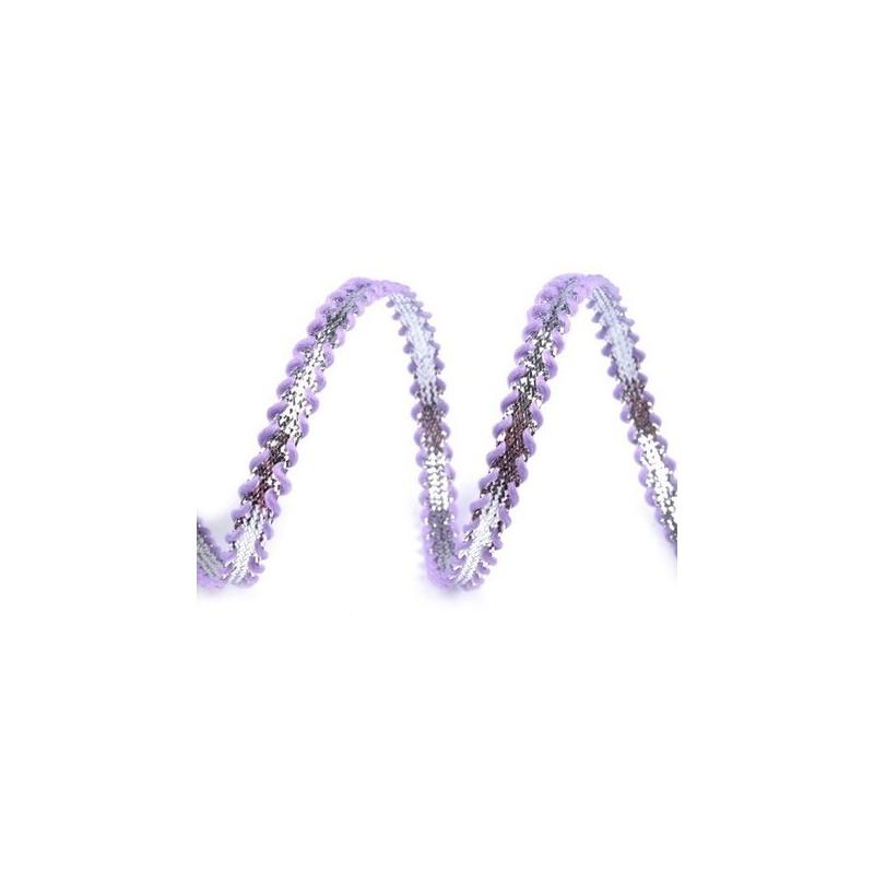 Galon tresse argent et bleu violet mauve 6 mm