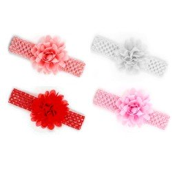 4 Bandeaux serre-tête élastique avec fleur / Blanc, rose, rouge, corail / accessoire cheveux pour enfants, bébés