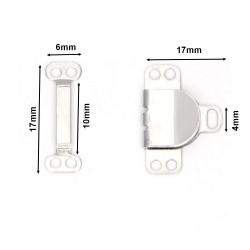 10 Agrafes en métal 17 mm / Noir, argent / Système de fermeture à coudre, crochets métal