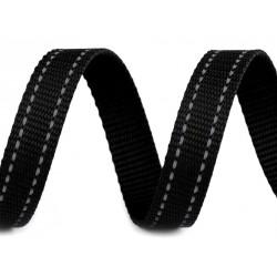 Sangle noire surpiqûres grises réfléchissantes en polypropylène / 20 ou 30 mm / Sangle polyamide de sécurité