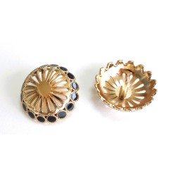 4 boutons métal doré cuivre et émail noir 25mm / Boutons ronds métal, boucle au dos