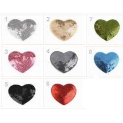 5 patchs thermocollants coeur avec sequins 5 cm / Nombreux coloris / patch coeur paillettes à appliquer au fer