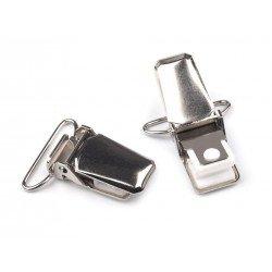 2 pinces à bretelles en métal avec inserts en plastique/ Fermoir pince pour salopette, porte tétine, pince pour bretelles