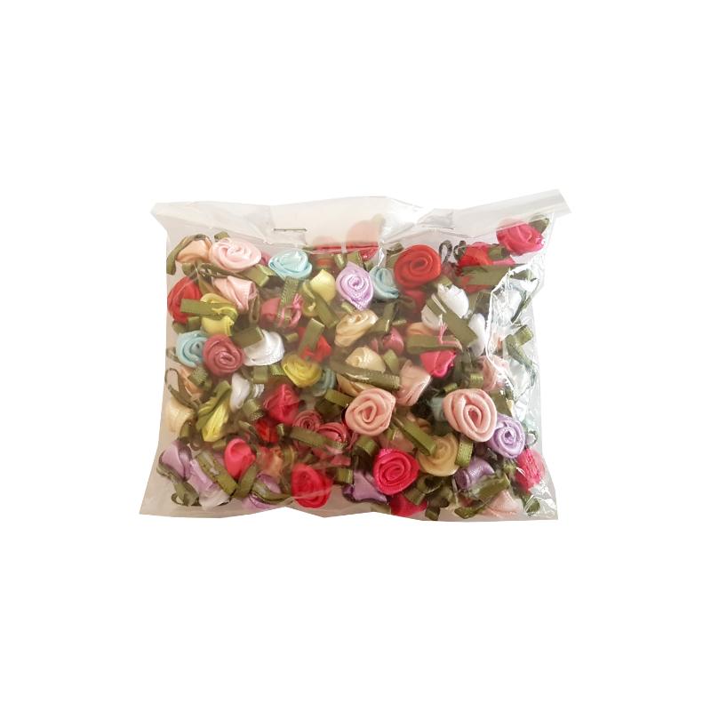 25 Mini petites roses et feuilles en ruban satin 12mm / Nombreux coloris / Fleurs satin, petites roses tissu décoration mariage
