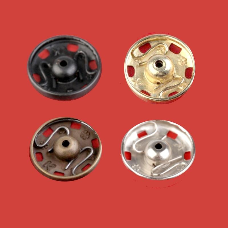 Boutons pressions en métal à coudre / argent, noir, or, bronze / de 6 à 21 mm