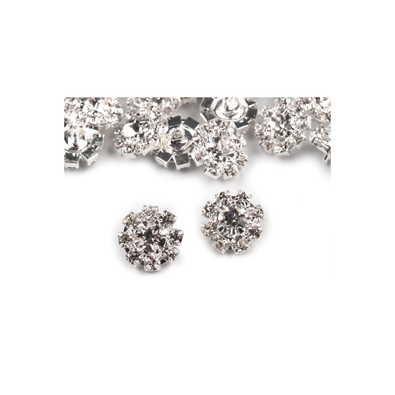 4 boutons strass cristal argent 12 mm