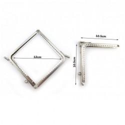 Fermoir porte monnaie ou sac 10x10 cm métal argent ciselé