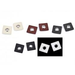4 appliqués carrés en cuir avec oeillet / marron, noir, ivoire, gris / stop cordon, passe cordon, oeillet métal, passe cordelett