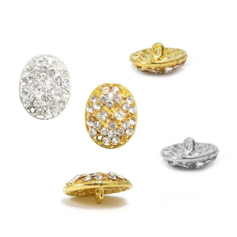 Bouton bijou cristal diamant 22 x 17 mm, or ou argent / bouton cristal, bouton diamant, bouton ovale