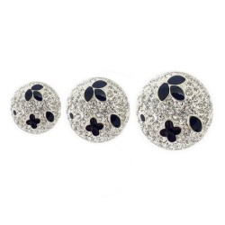 Bouton cristal diamant émaillé noir
