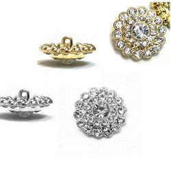 Bouton cristal diamant 20 mm / Argent, or / bouton diamant, bouton cristal, bouton luxe