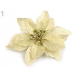 Fleur de Noël Poinsettia 14cm / rouge ou ivoire doré/ Décoration Noël, Couronne de l'Avent
