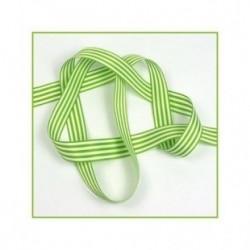 Ruban rayures verts 16 mm en polyester vendu au metre