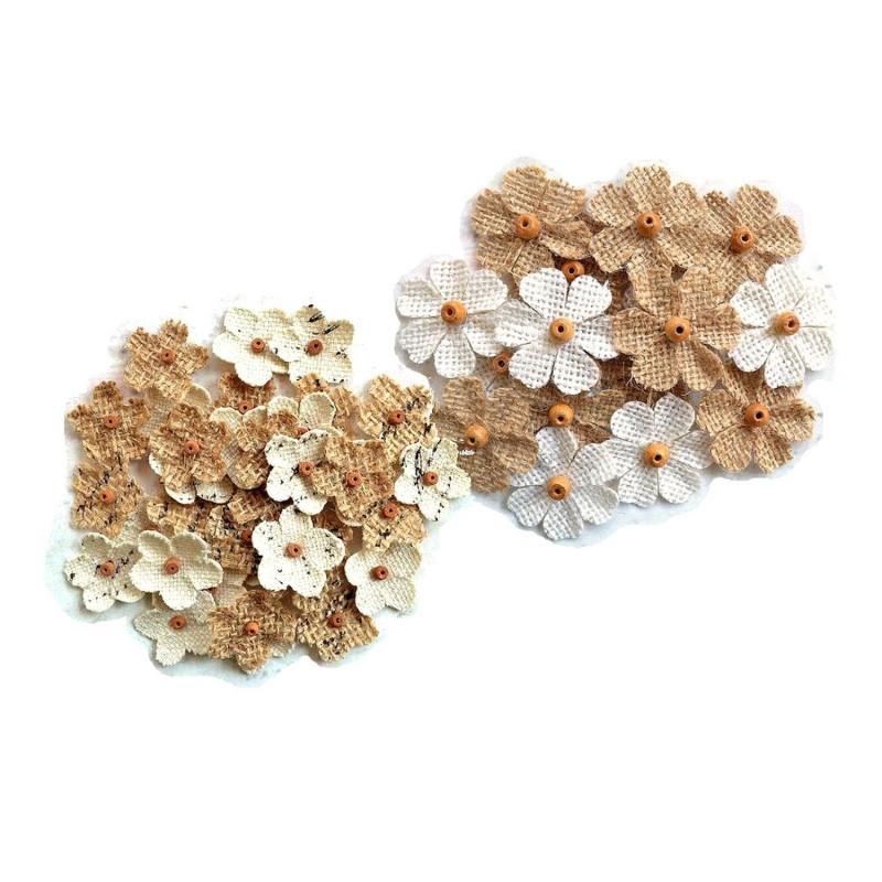 6 fleurs jute et perles bois / ivoire et marron / fleurs tissu naturel, fleurs en jute, fleurs en toile à appliquer ou coudre