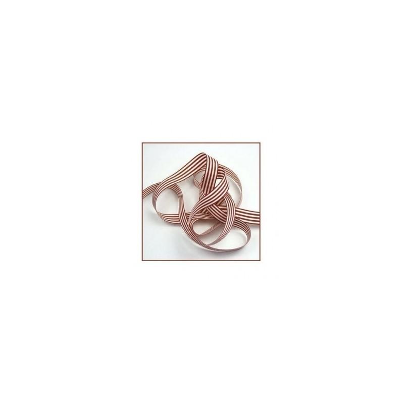 Ruban a rayures marron16 mm en polyester vendu au metre
