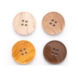 10 boutons ronds 4 trous en imitation bois / 15, 20 ou 23 mm / boutons marbrés en plastique, boutons ivoire, beige, marron, jaun