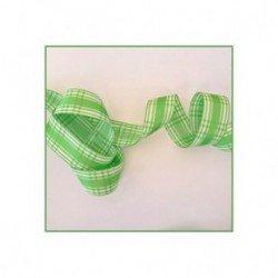 3 metres de ruban carreaux verts 15 mm en polyester