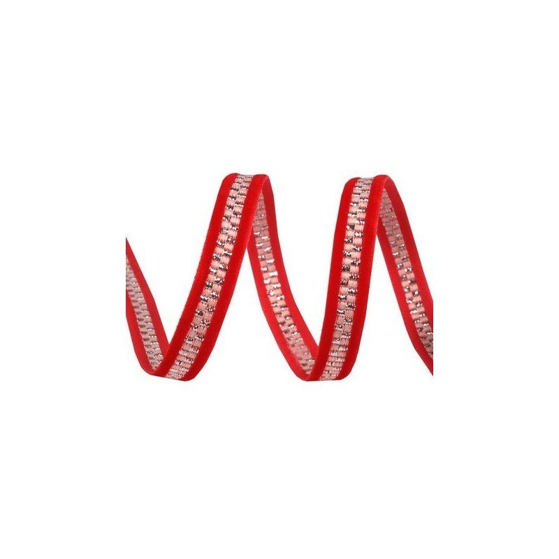 Ruban galon de velours rouge et lurex argent