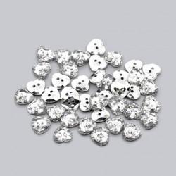 5 boutons 16 mm coeur cristal transparent fond argent